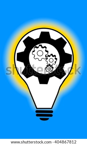 Light bulb with cogs and gears - stock photo