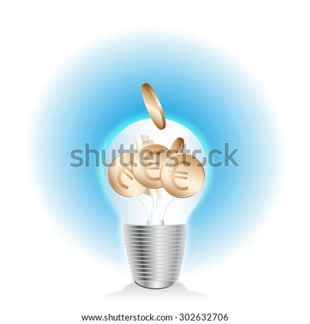 light bulb with coins - stock photo