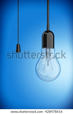 Light Bulb with Cord  Switch on a blue background. 3d Rendering - stock photo