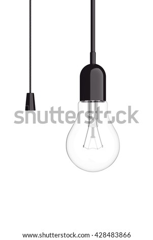 Light Bulb with Cord  Switch on a white background. 3d Rendering - stock photo