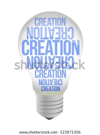 Light Bulb With Creation Text illustration design over white - stock photo