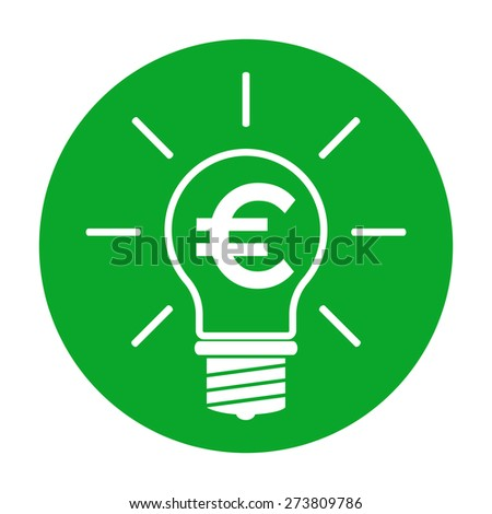 Light bulb with euro symbol business concept - stock photo