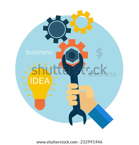 Light bulb with gears and cogs working together concept in flat design style. Hand with wrench. Repair icon. Raster version - stock photo