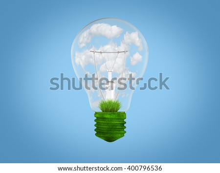 Light bulb with grass and clouds inside it.