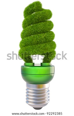 light bulb with green grass. isolated on white. - stock photo