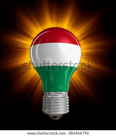 Light bulb with Hungarian flag.  Image with clipping path - stock photo