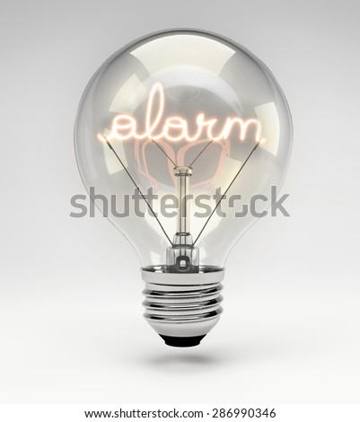 Light Bulb with Realistic Fluorescent Filament - Alarm Concept (Set) - stock photo