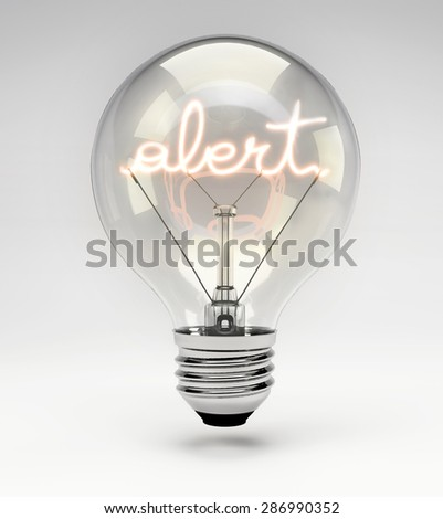 Light Bulb with Realistic Fluorescent Filament - Alert Concept (Set) - stock photo