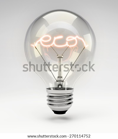 Light Bulb with Realistic Fluorescent Filament - Eco Concept (Set) - stock photo
