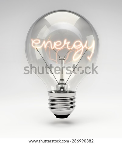 Light Bulb with Realistic Fluorescent Filament - Energy Concept (Set) - stock photo