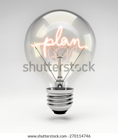 Light Bulb with Realistic Fluorescent Filament - Plan Concept (Set) - stock photo