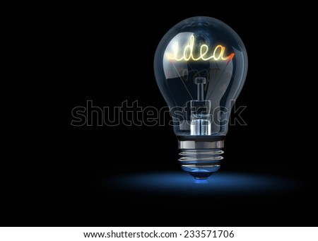 Light bulb with tungsten spiral in form word idea