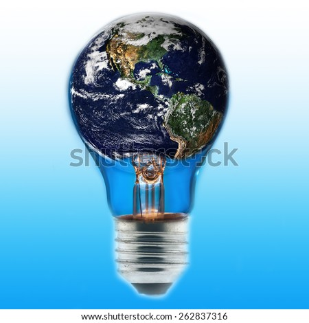 "Light bulb with world inside and global warming isolated, ""Elements of this image furnished by NASA "" - stock photo"