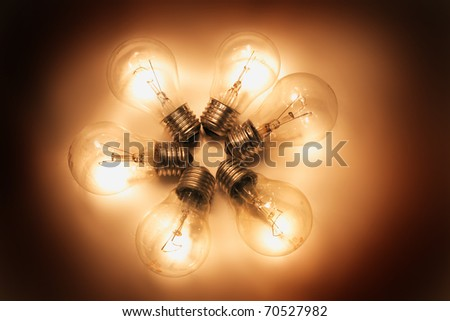 light bulbs as idea background - stock photo