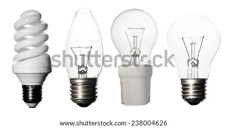 Light bulbs collage, isolated on white - stock photo