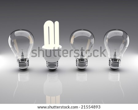 Light bulbs 3d high resolution rendering. Concept of energy saving, individuality, leadership, diversity... - stock photo