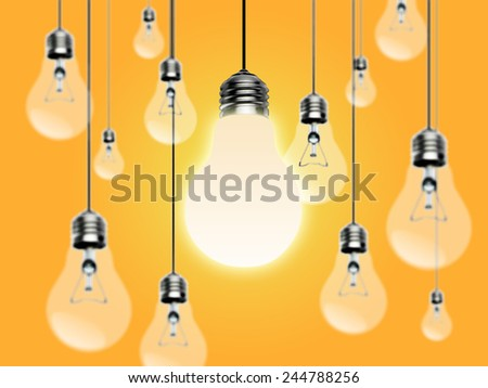Light bulbs with Idea concept on a yellow background  - stock photo