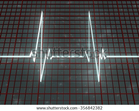 Light cardiogram and red grid on space background - stock photo