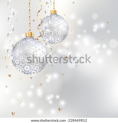 light Christmas background with two silver balls - stock photo