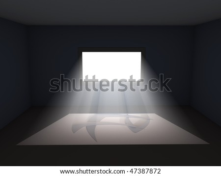 Light coming through window in dark room. Illustration. Please check my portfolio for similar works - stock photo