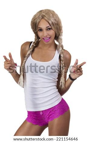 Light Complexion African American Woman Blond Wig - stock photo