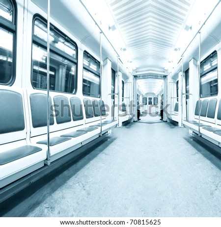 light contemporary illuminated carriage interior - stock photo