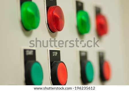 light control button inside of factory - stock photo