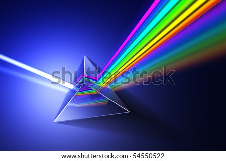 Light dispersion illustration. Hi-res 3d rendering. - stock photo
