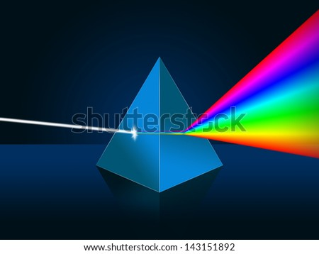 Light dispersion illustration. Prism, spectrum. - stock photo