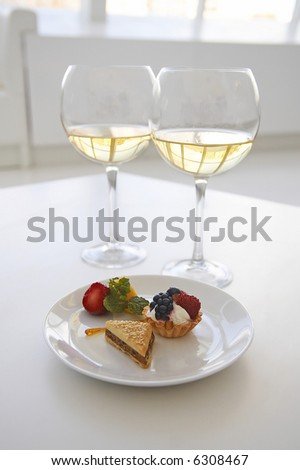 light elegant lunch with wine - stock photo