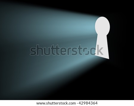 Light from keyhole - stock photo