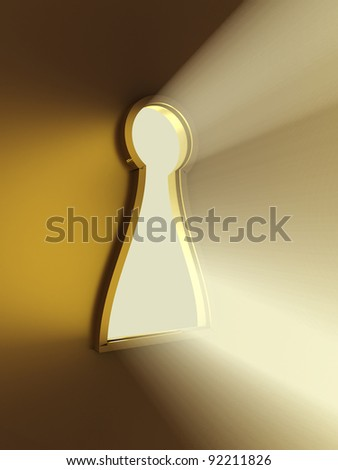 Light from the keyhole. 3D image - stock photo
