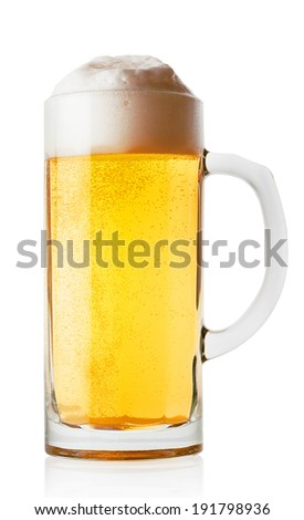 Light glass of fresh beer isolated on white background - stock photo