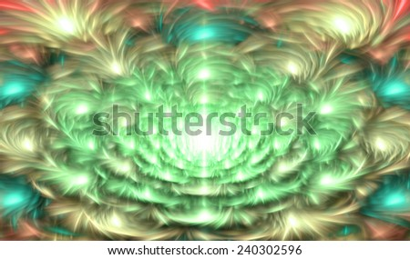 Light glowing green,cyan,yellow,red abstract soft and silky fractal flower in high resolution with a detailed soft smooth petals and against dark background  - stock photo