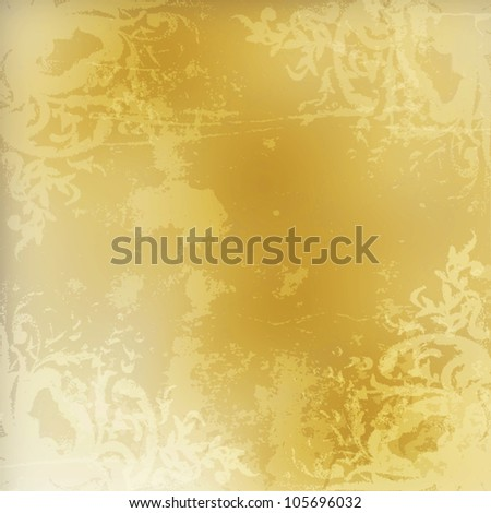 Light golden watercolor brush strokes for grunge background - stock photo