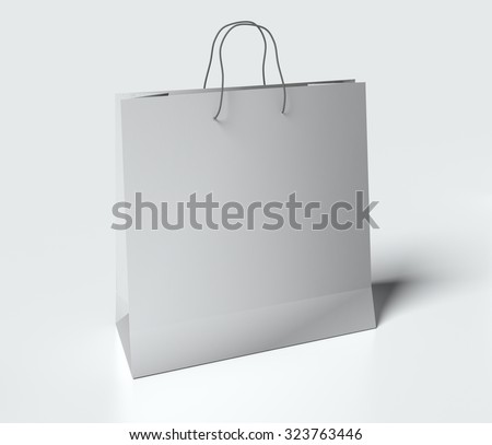 Light gray paper bag with handles on white background. mock up - stock photo