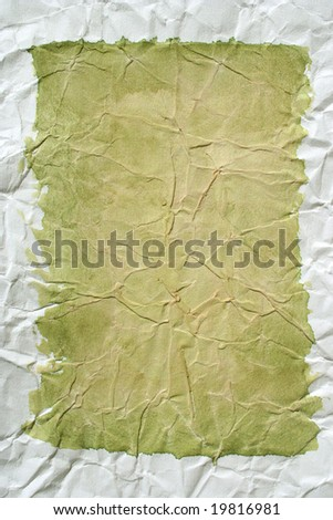 Light green color framed painted crushed paper as background. Art is painted by photographer. - stock photo