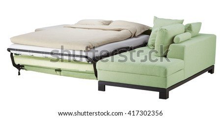 Light green corner couch bed isolated on white include clipping path - stock photo