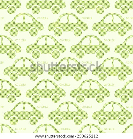 Light Green Eco Car Seamless Pattern.  Illustration of Earth Protection Concept - stock photo