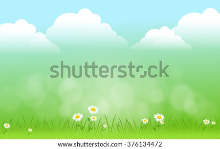 Light green landscape with clouds and grass illustration