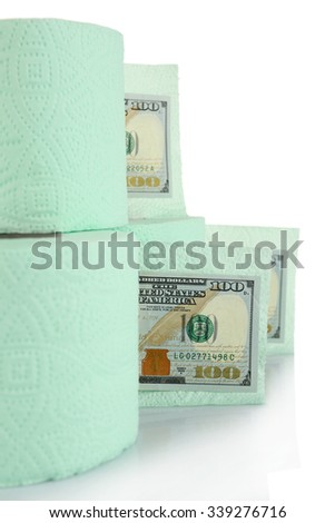 Light green rolls of toilet paper and dollar banknotes on light background - stock photo