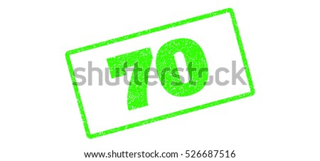 Light Green rubber seal stamp with 70 text. Raster tag inside rounded rectangular frame. Grunge design and scratched texture for watermark labels. Inclined emblem on a white background.