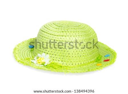 light green straw Panama hat isolated on white background - stock photo