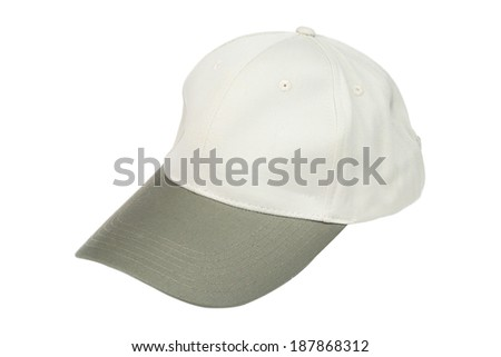 Light green two tone baseball caps isolated on white background - stock photo