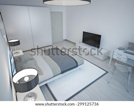Light grey bedroom minimalist design. 3D render - stock photo