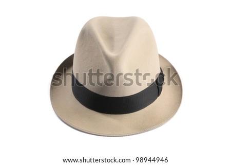 light grey fedora hat isolated on white - stock photo