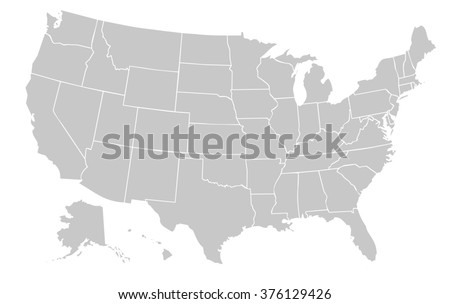 light grey map of the united states of america with no outline on white background with white internal borders - stock photo
