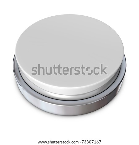 light grey round push button bordered by a metallic ring - design template - stock photo