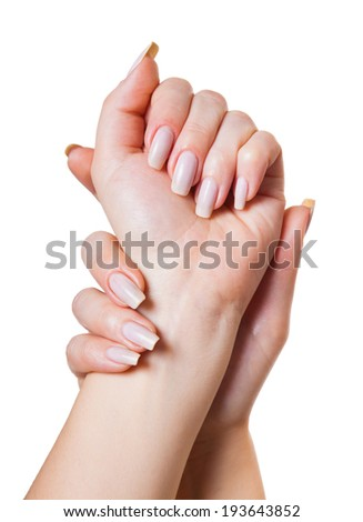 light hand massage, isolated white background