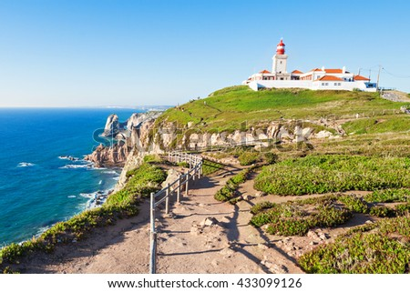 Light house at Cape Roca, Sintra, Portugal - stock photo